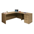 "Wood Grain Corner L-Desk with Right Return and Pedestal - 71""W, 14295"