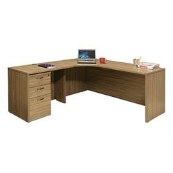 """Wood Grain Corner L-Desk with Left Return and Pedestal - 71""""W, 14296"""