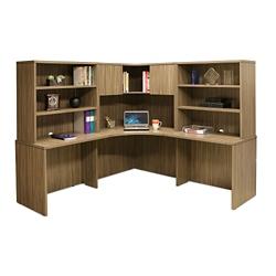 """Wood Grain Corner Desk with Hutches - 77.5""""W, 14297"""