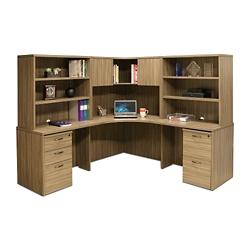 "Wood Grain Corner Desk with Hutches and Pedestals - 77.5""W, 14298"