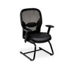 Bonded Leather Seat and Mesh Back Guest Chair, 56991
