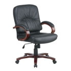 Leather Office Chair with Wood Frame, CD00556