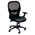 Leather Ergonomic Chair with Arms and Mesh Back, 56436