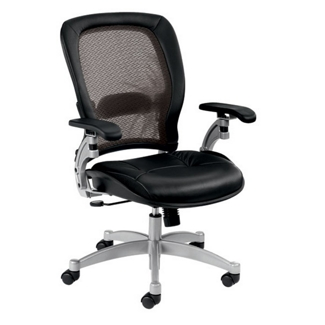 Mesh Mid-Back Ergonomic Chair with Leather Seat, 56474