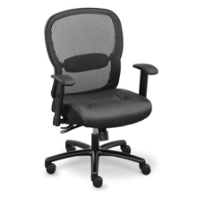 Linear Mesh Back Big and Tall Chair with Memory Foam Faux Leather Seat, 56585