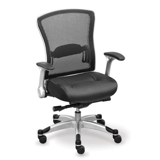 Linear Collection Memory Foam Chair with Mesh Back and Leather Seat, 56953