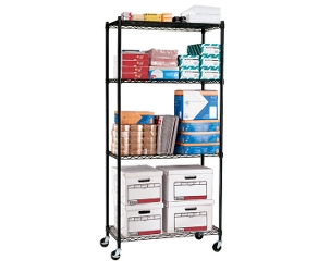 """Mobile Storage Unit with Four Wire Shelves - 36""""W x 18""""D, 31555"""