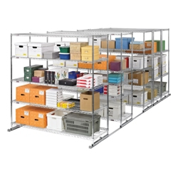 """Space-Saving Storage Track: Set of Five Mobile Shelves 36""""W x 24""""D, 31712"""