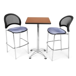 Square Cafe Table with Two Mesh Back Stools, 44564