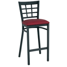 Grid-Back Stool with Black Frame, 44215