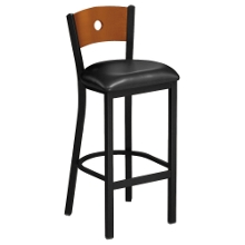 Circle-Back Stool with Wood Back and Black Frame, 44217