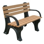 4'W Outdoor Bench with Backrest and Arms, 85879