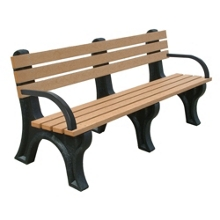 6'W Outdoor Bench with Backrest and Arms, 85880