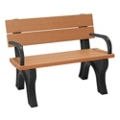 4' W Eco Friendly Bench with Backrest and Arms, 85882