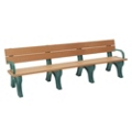 8' W Eco Friendly Bench with Backrest and Arms, 85884