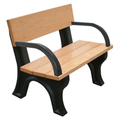 4' W Eco Friendly Outdoor Bench with Backrest and Arms, 85887