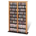 Double Width Oak Media Storage Tower, CD00370