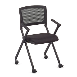 Linear Nesting Chair with Vertical Mesh Back and Memory Foam Seat, 51528