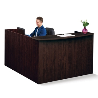 "Solutions Reception L-Desk with Right Return and Short Pedestal - 71""W, 13965"