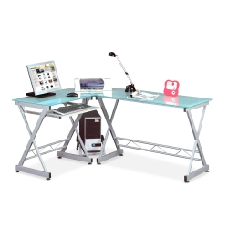 L-Shape Glass & Steel Desk with Left Return, 15970