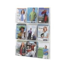 Economical Clear Plastic Nine Pocket Magazine Rack, 33283