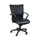 Leather Mid Back Chair on Wheels, 50467