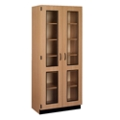 Glass Double Doored Laminate Storage Cabinet with Lock, 36006