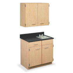 """Cabinet with Right Hand Sink and Wall Cabinet - 36""""W, 44607"""