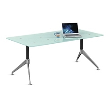View Glass Top Table Desk - 6'W, 40015