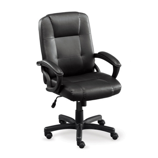 Stellar Faux Leather Mid-Back Chair with Memory Foam Seat, 50967