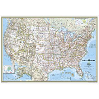 United States Classic Wall Map, Enlarged