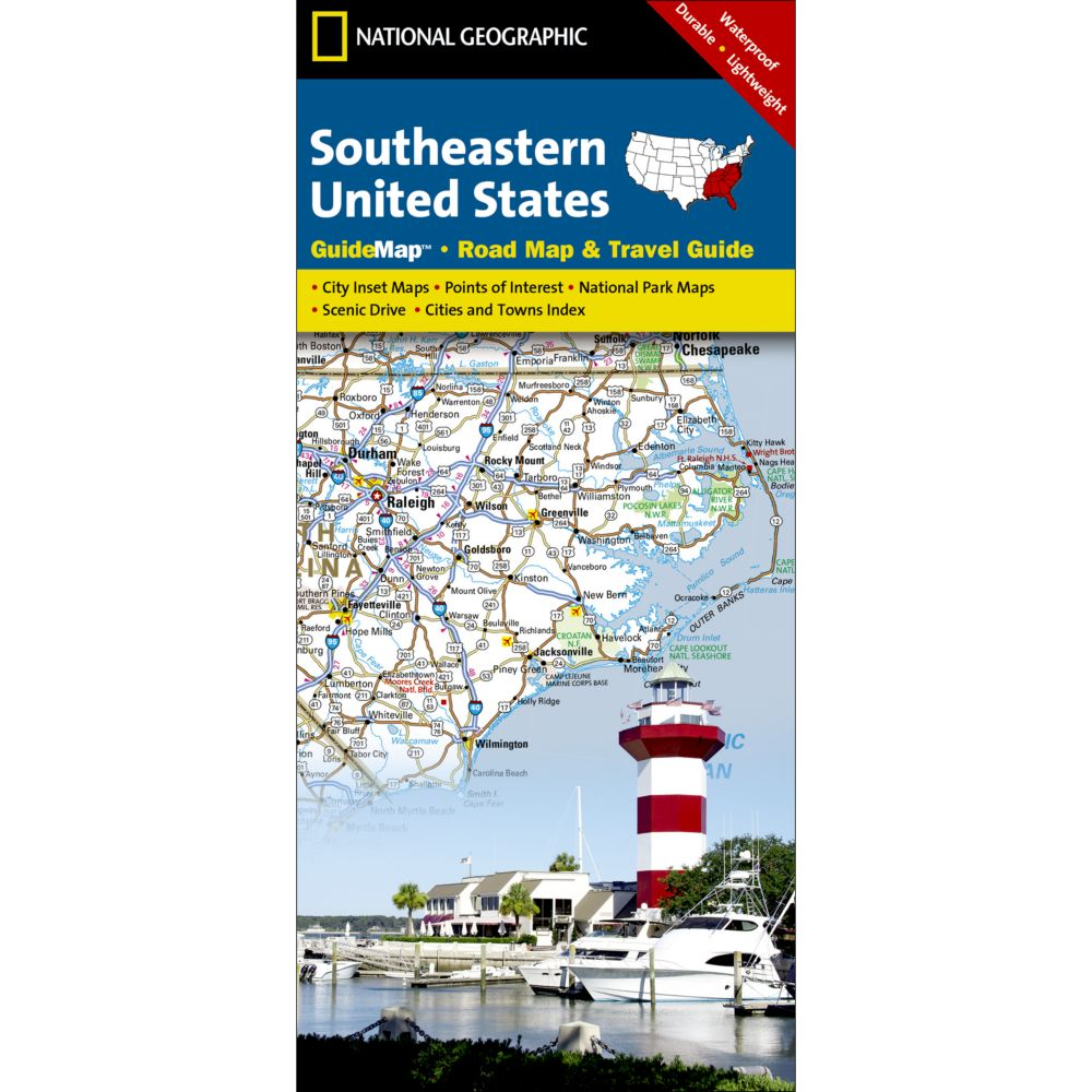 photo: National Geographic Southeastern USA Map us south paper map