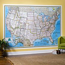 U.S. Mural Wall Map, Blue Ocean