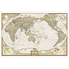 World Classic Pacific-centered Map (Earth-toned), Laminated