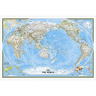 World Classic, Pacific Centered Wall Map, Enlarged