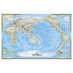World Classic Pacific-Centered Map, Enlarged and Laminated, 2007