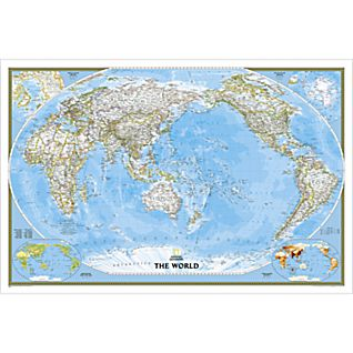 World Classic Pacific-centered Map, Enlarged and Laminated