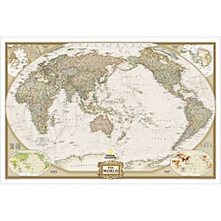 World Executive, Pacific Centered Wall Map, Enlarged and Laminated