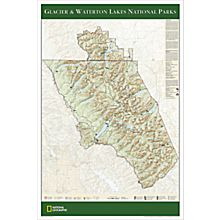 Glacier & Waterton Lakes National Parks Map Poster