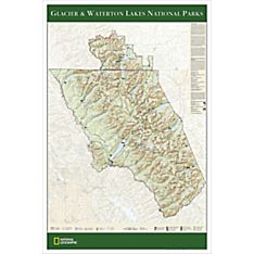 Glacier & Waterton Lakes National Parks Travel and Hiking Map Poster