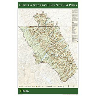 View Glacier & Waterton Lakes National Parks Map Poster image