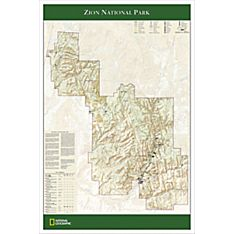Zion National Park Travel and Hiking Map Poster