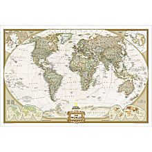 World Map Posters Earth Tone