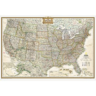 U.S. Political Map (Earth-toned), Poster Size and Laminated