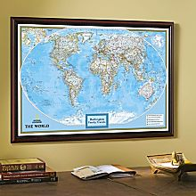 World Traveler Map with Black Frame