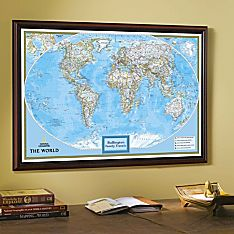 Framed World Travel Maps for Walls