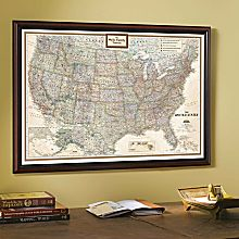 Earth Map in Frame on Wall