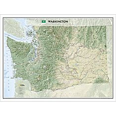 Washington State Wall Map, Laminated