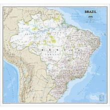 Brazil Political Wall Map (Classic), Laminated
