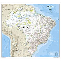 Brazil Political Map (Classic), Laminated